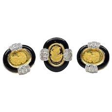 Custom Made 999.9 24K 3 Gram Cameron Suisse Yellow Gold Diamond Black Onyx Earring & Ring Set