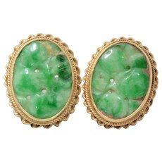 Elegant 14K yellow Gold Green Carved Jade Pierced Earrings