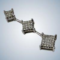 Elegant 14K White Gold Diamond Drop Pendant/Necklace
