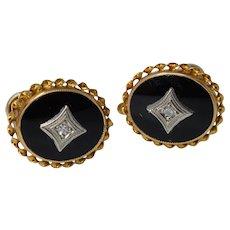 Vintage 10K Yellow Gold Black Onyx & Diamond Screw Back Earrings