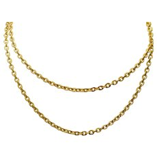 """Vintage Chinese 24K Yellow Gold 24"""" Chain Necklace"""
