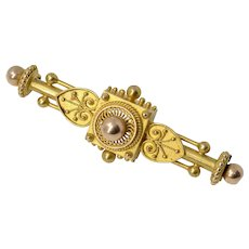Antique Victorian 14K Solid Yellow Gold Bar Brooch/Pin