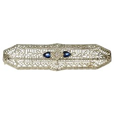 Art Deco 10K White Gold Heart Sapphire & Diamond Filigree Brooch