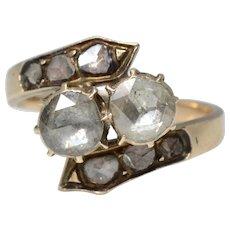 Impressive Antique Georgian Rose Cut Diamonds 14K Yellow Gold Ring/Engagement Ring