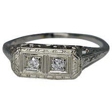 Stunning Antique Art Deco 18K White Gold Filigree Double Diamond Engagement Ring