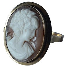 Antique 18K Yellow Gold Carved Shell Cameo Lady Profile Ring