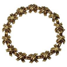 Tiffany & Co. 18K Yellow Gold Signature X Design Link Bracelet