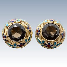 Vintage Asian Export Gold Wash Silver Enamel Screw Back Earrings