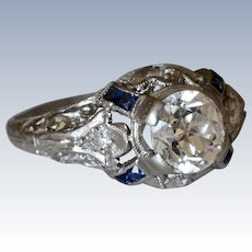 Gorgeous Antique Art Deco Old Miner Cut Diamond & Sapphire Platinum Engagement Ring