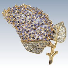 Vintage Gold Colored Purple Enamel Floral Moving Leaf Brooch with Clear Rhinestone