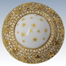 Gorgeous Vintage Nettie Rosenstein Large Star Brooch with Rhinestones