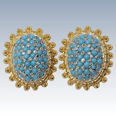 Vintage Nettie Rosenstein Turquoise Glass Beads & Rhinestones Clip On Earrings