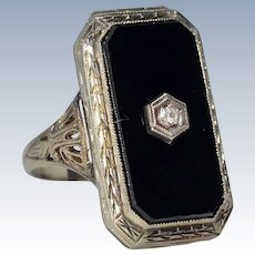 Antique Victorian Art Deco Mourning 14 Karat White Gold Black Onyx Diamond Locket Photo Ring
