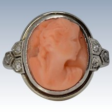 Stunning Antique Art Deco 14K White Gold Carved Coral & Diamond Cocktail Ring