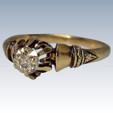 Lovely Antique 14K Yellow Gold Solitaire 0.25CW Diamond Engagement Ring