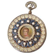 Spectacular Vintage Nettie Rosenstein Sterling Vermeil Faux Pocket Watch Enamel & Rhinestone Brooch/Pin