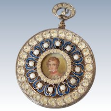 Spectacular Vintage Nettie Rosenstein Sterling Vermeil Faux Pocket Watch Enamel & Rhinestone Brooch/Pin