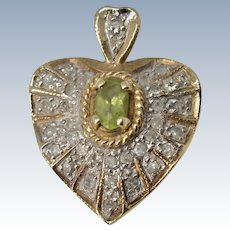 Beautiful Vintage 10K Yellow Gold Diamond Pave & Peridot Heart Shape Pendant