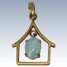 Lovely Vintage 14K Yellow Gold Dangle Opal Pendant