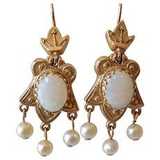 Antique 14K Yellow Gold Opal & Pearl Dangle Pierced Earrings