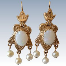 Antique 14K Yellow Gold Opal & Pearl Dangle Pierced Earrings