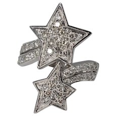 Vintage 18K White Gold 2Ctw Diamond Pave Bypass Shooting Star Ring