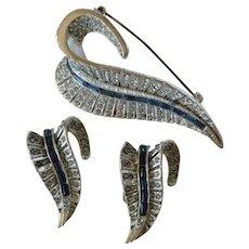 Vintage Nettie Rosenstein Faux Sapphire & Clear Rhinestone Brooch & Clip on Earring Set