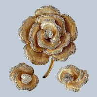 Large Vintage Nettie Rosenstein Rose Brooch and Clip on Earrings Set