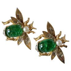 Lovely Vintage Gold Toned Jelly Belly Insect Clip on Earrings With Rhinestones and Glass Pearl