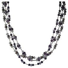 Dazzling 14K White Gold Purple Amethyst Quartz Pearl 3-String Bead Necklace