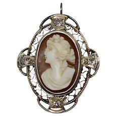 Antique Art Deco 14K White Gold Filigree Euro-cut Diamond Carved Shell Cameo Pendant/Brooch