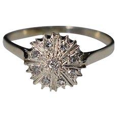 Vintage 14K White Gold Diamond Pave Starburst Ring