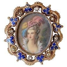 Victorian 14K Yellow Gold Rose Cut Diamond Blue Enamel Miniature Portrait of a Lady Brooch/Locket