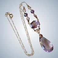Stunning Art Deco 14K Yellow Gold Filigree Amethyst Pendant/Necklace
