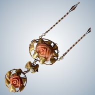 Amazing Antique 14K Yellow Gold Salmon Coral Seed Pearl Rose/Floral Necklace
