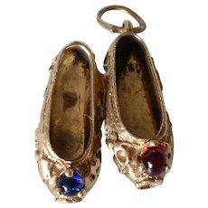 Vintage 14K Yellow Gold Ladies Shoes Charm/Pendant