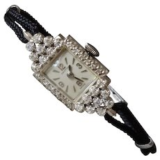 Vintage 14K White Gold .65 Tcw Diamonds Croton Ladies Wrist Watch