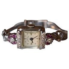 Retro 14 Karat White Gold 0.25 Carat Diamond & Ruby Hamilton Ladies Watch w/ Original Box