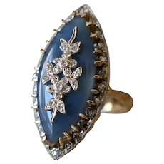 Sophisticated 14K Yellow Gold Blue Chalcedony & Diamond Navette Cocktail Ring
