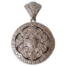 Vintage 14K White Gold Diamond Pave Locket Pendant
