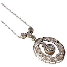 Antique 14K White Gold Rose Cut Diamond Drop Pendant Necklace