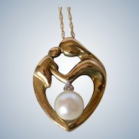 Lovely Mother with a Child 10K Yellow Gold Pearl & Diamond Pendant/Necklace