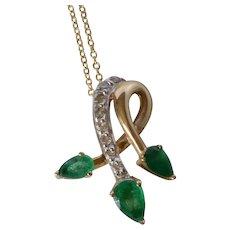 Vintage 14K Yellow Gold Emerald & Diamond Pendant w/ Chain