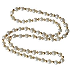 Classic Vintage 14K Yellow Gold & Cultured Pearls Necklace