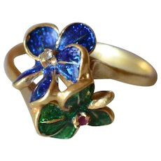 Charming Vintage 18K Yellow Gold Green&Blue Enamel Flower Ring