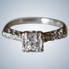 Classic Vintage 14K White Gold .35 Ct Single Stone Diamond Engagement Ring