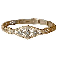 Art Deco Style 10K Rose Gold Filigree Diamond Bracelet