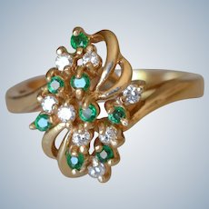 Delicate Vintage 14K Yellow Gold Emerald & Diamond Ring
