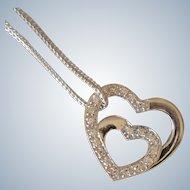 Lovely 14K White Gold Diamond Double Heart Pendant w/Chain