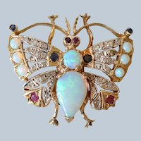 Stunning Antique 14K Yellow Gold Opal, Rose-cut Diamond, Sapphire and Ruby Butterfly Pendant